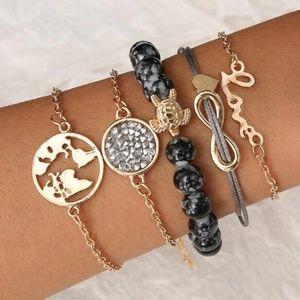 Boho Love Druzy Stone Bracelet Set of 5
